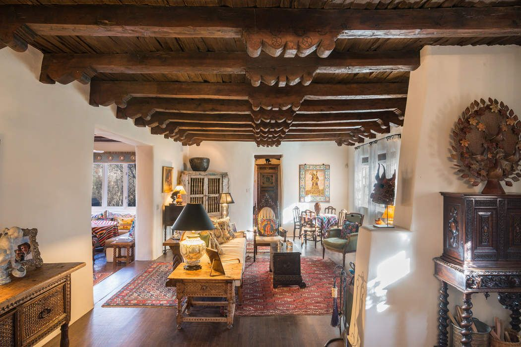 Living Room with 200 year old Taos Church Ceiling