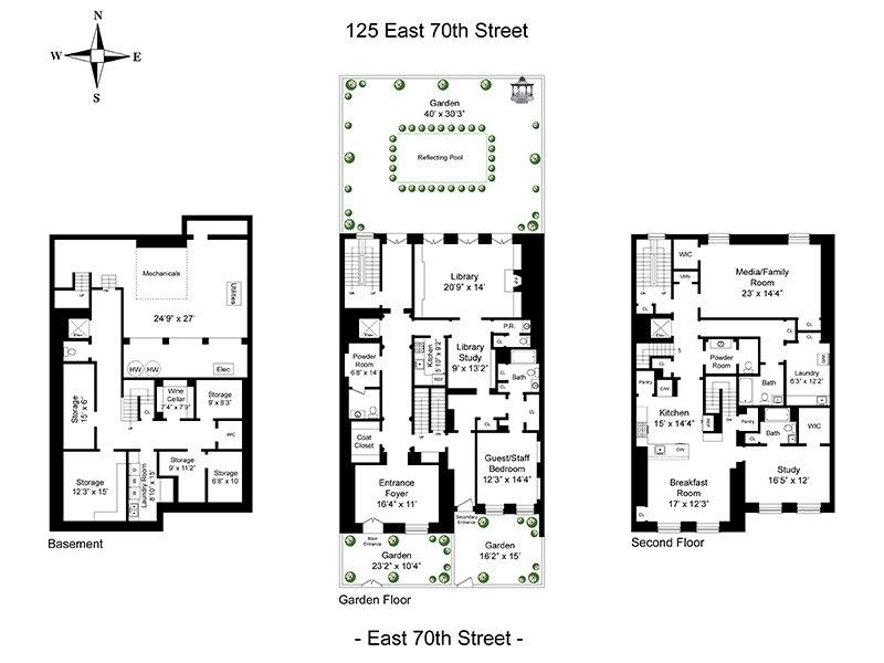 125 E 70th St Mellon House 40 Width New York Ny: luxury townhouse floor plans