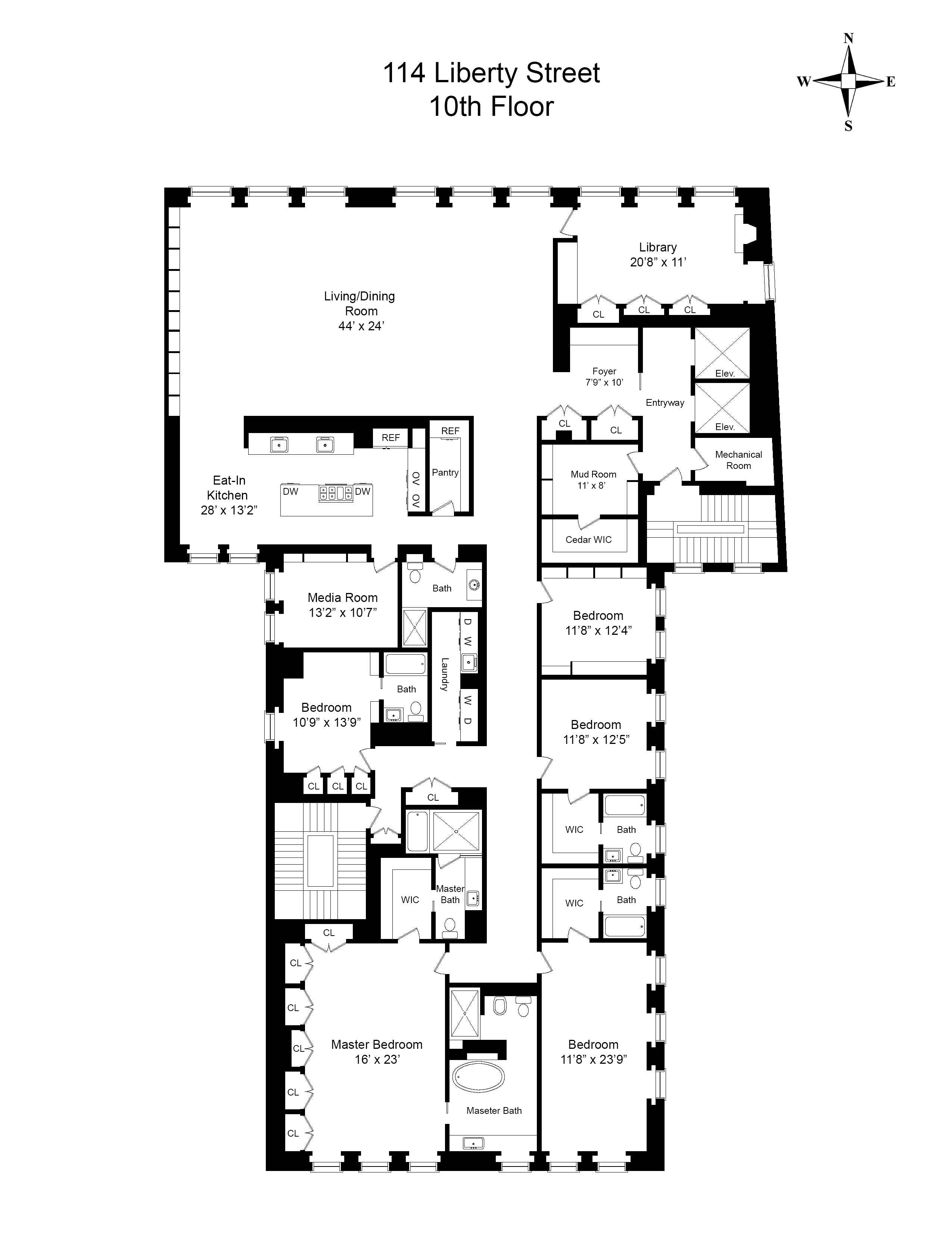 114 liberty street 10th floor new york ny 10006 for Luxury apartment floor plans nyc