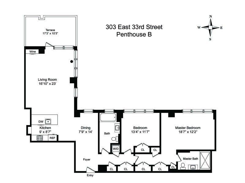 Floor plan of 303 East 33rd Street, PHB - Kips Bay, New York
