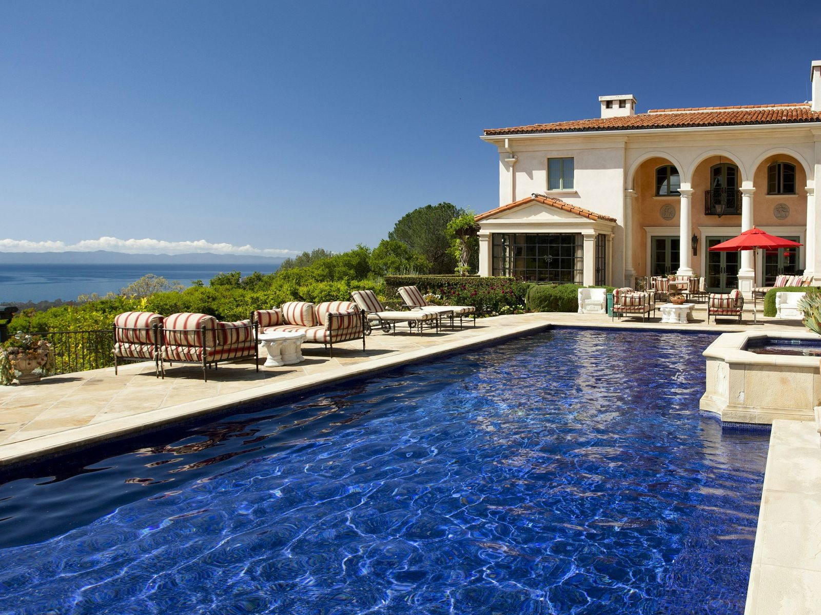 Pool with panoramic ocean views