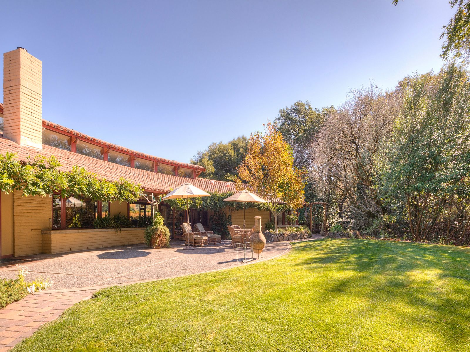 South facing, creek-side back garden