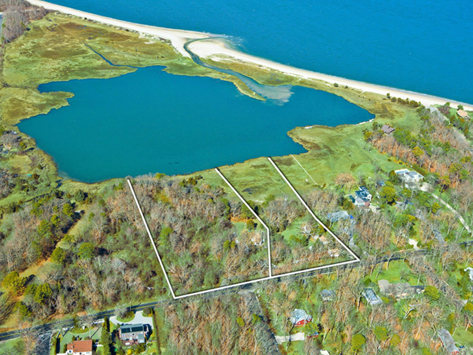 Over Six Acres On Squires Pond, Hampton Bays NY Multiple Residences - Hamptons Real Estate