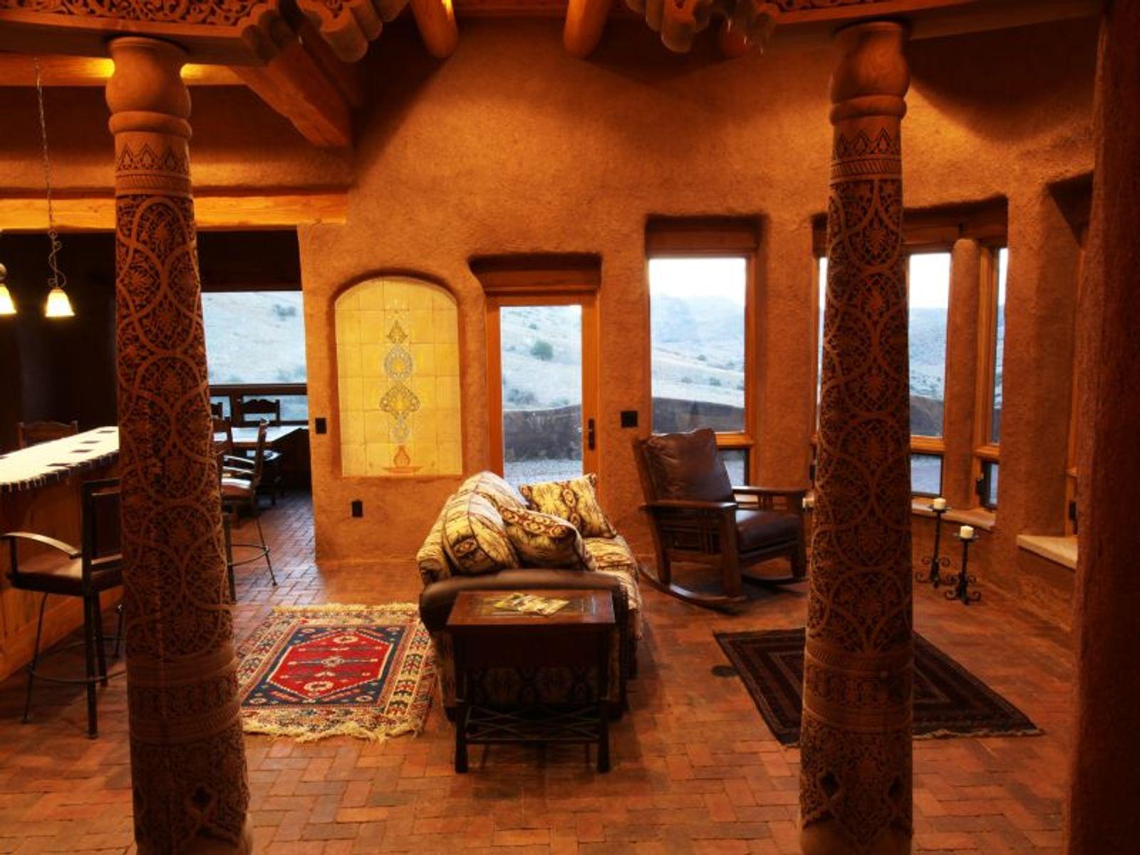 Main House:  Great Room - Uzbek tile mural; Pendle