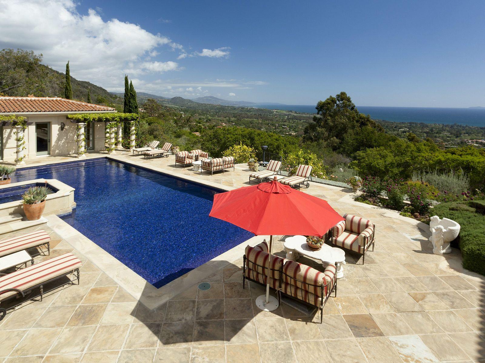 Pool House, pool, and panoramic ocean views