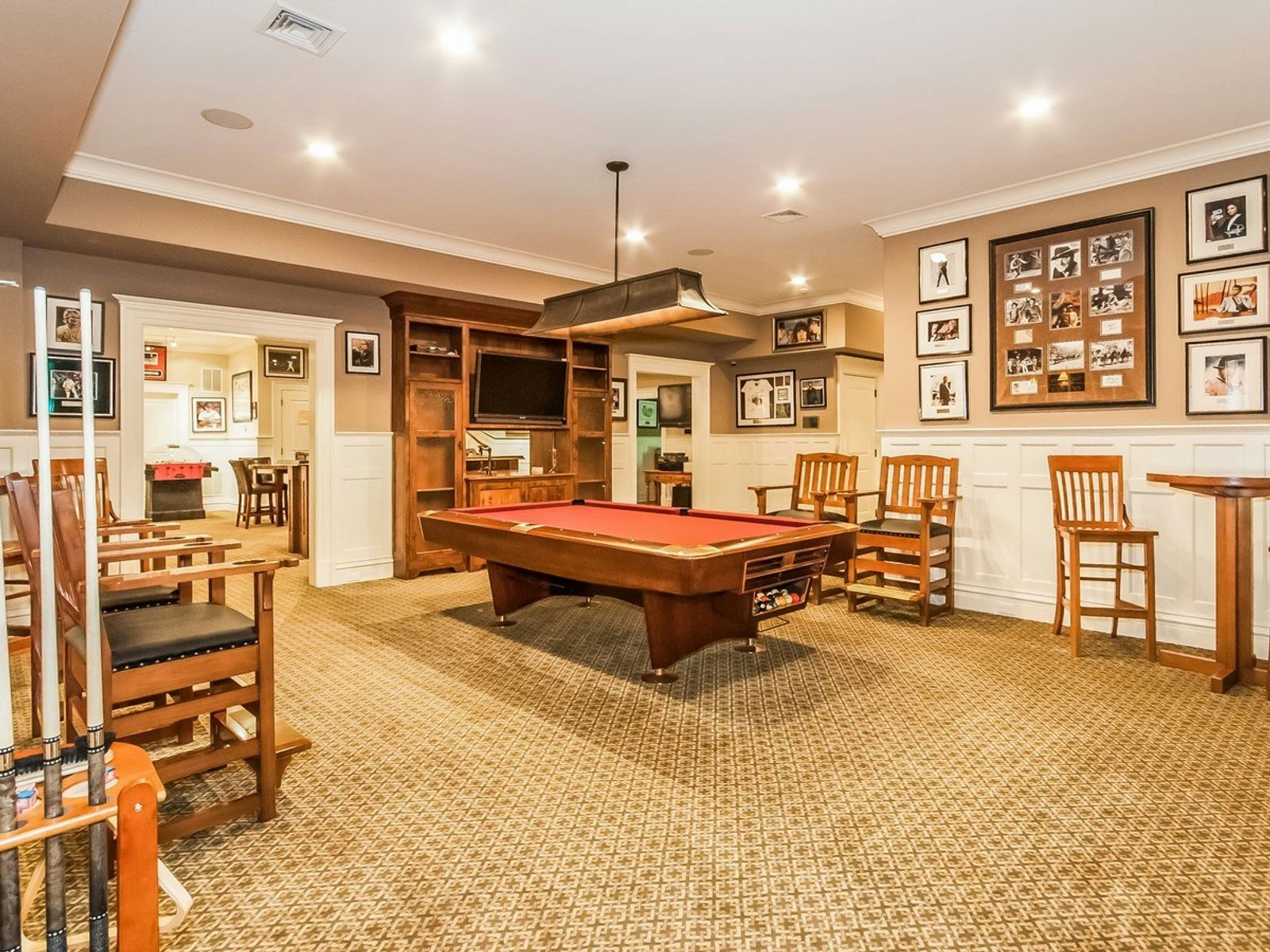 Billiard Room with Adjacent Family Room and Bar