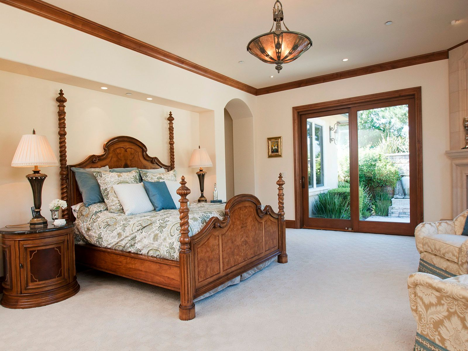 Master includes Fine Arts chandelier, fireplace