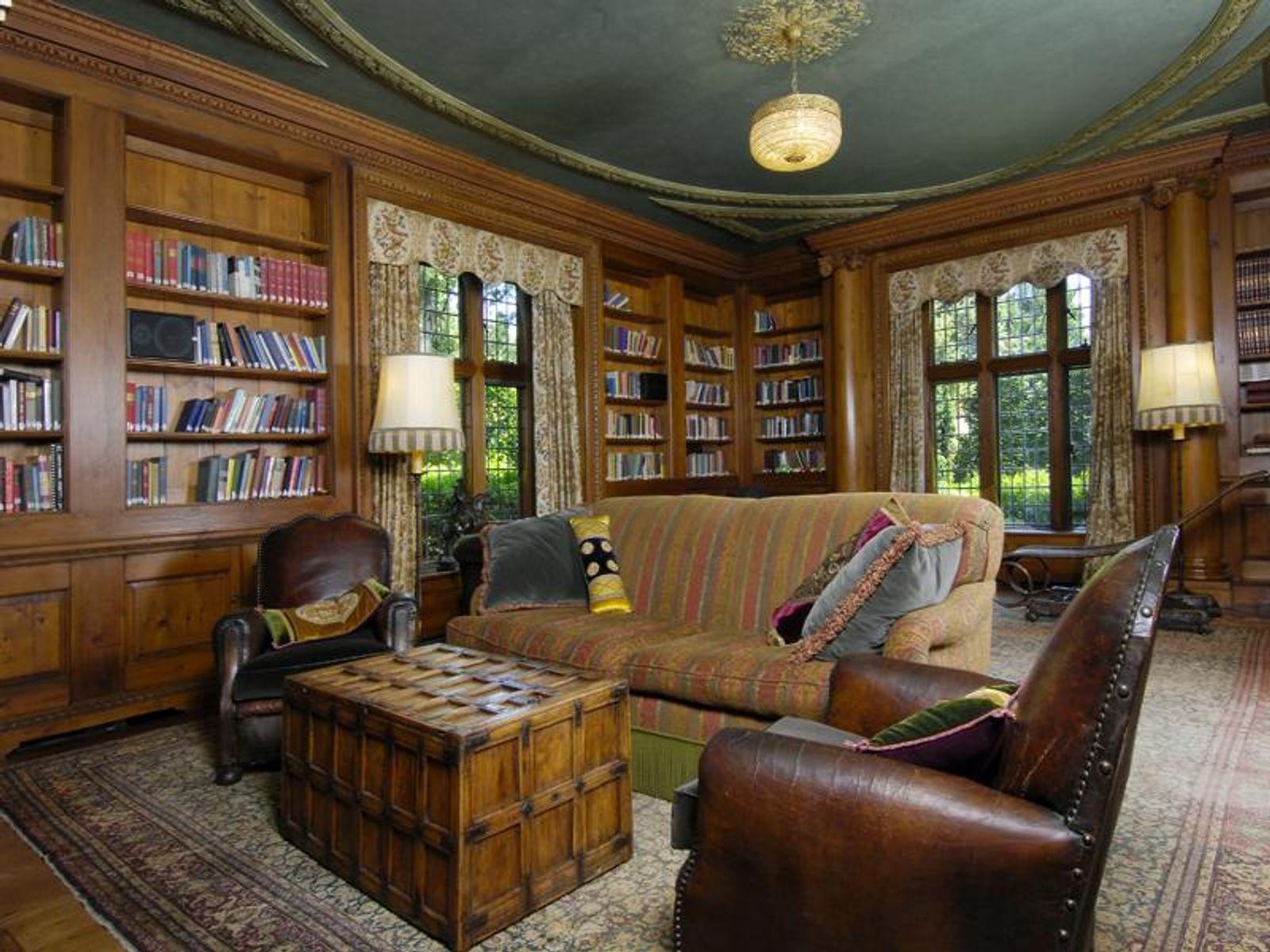 English Pine Paneled Library