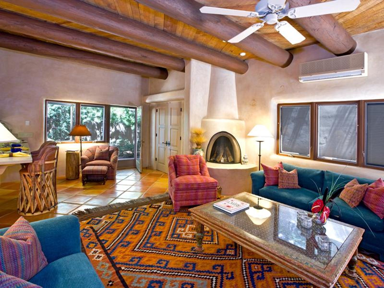 Southwestern in style, the enchanting living area