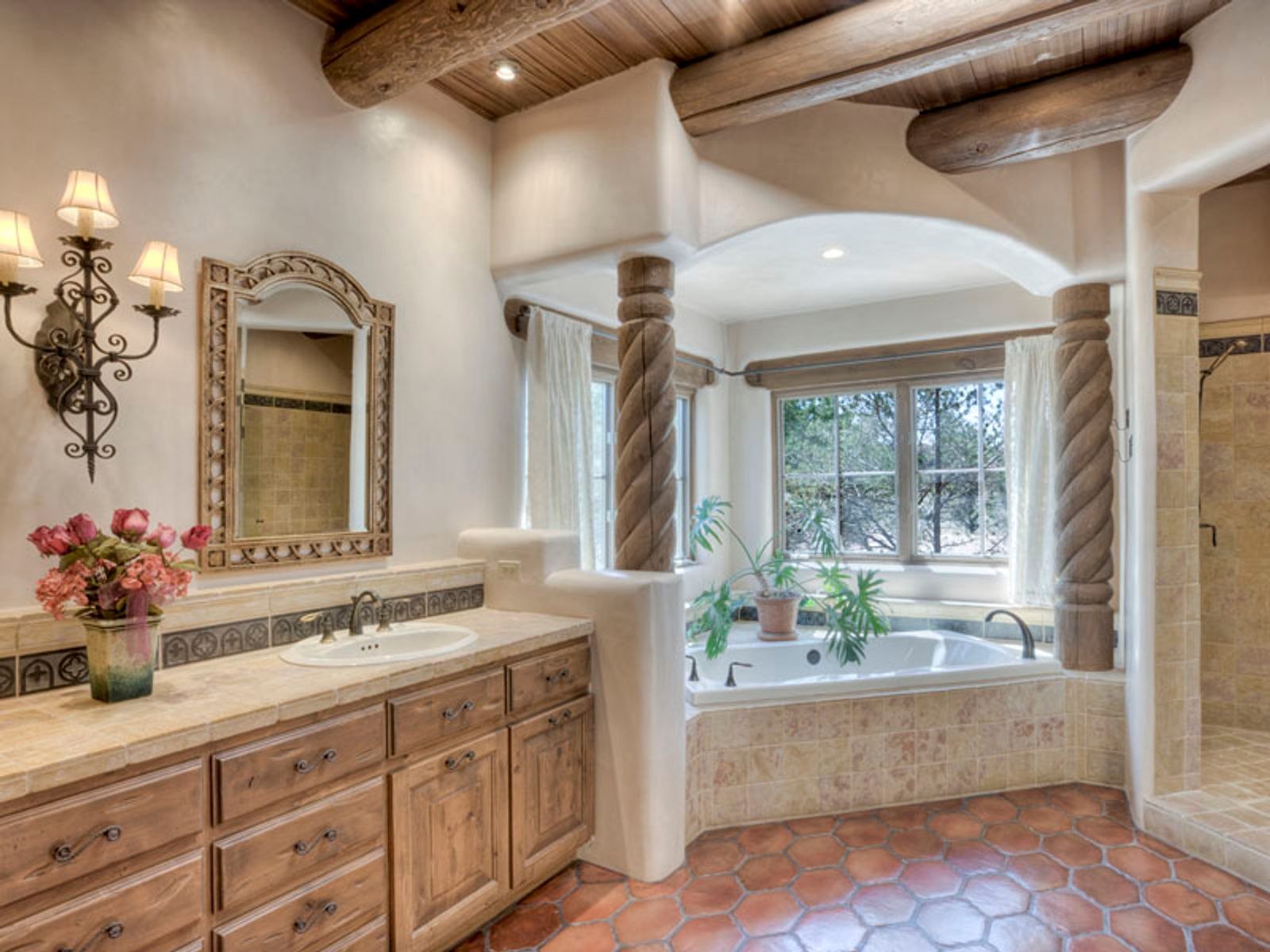 Mstr Ba includes cool stone, woodwork, soaking tub