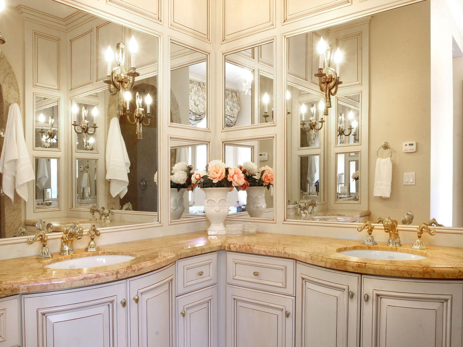 Crema Valencia Marble vanity.