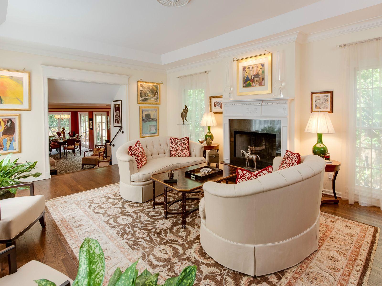 Living Room-wood burnig Fireplace