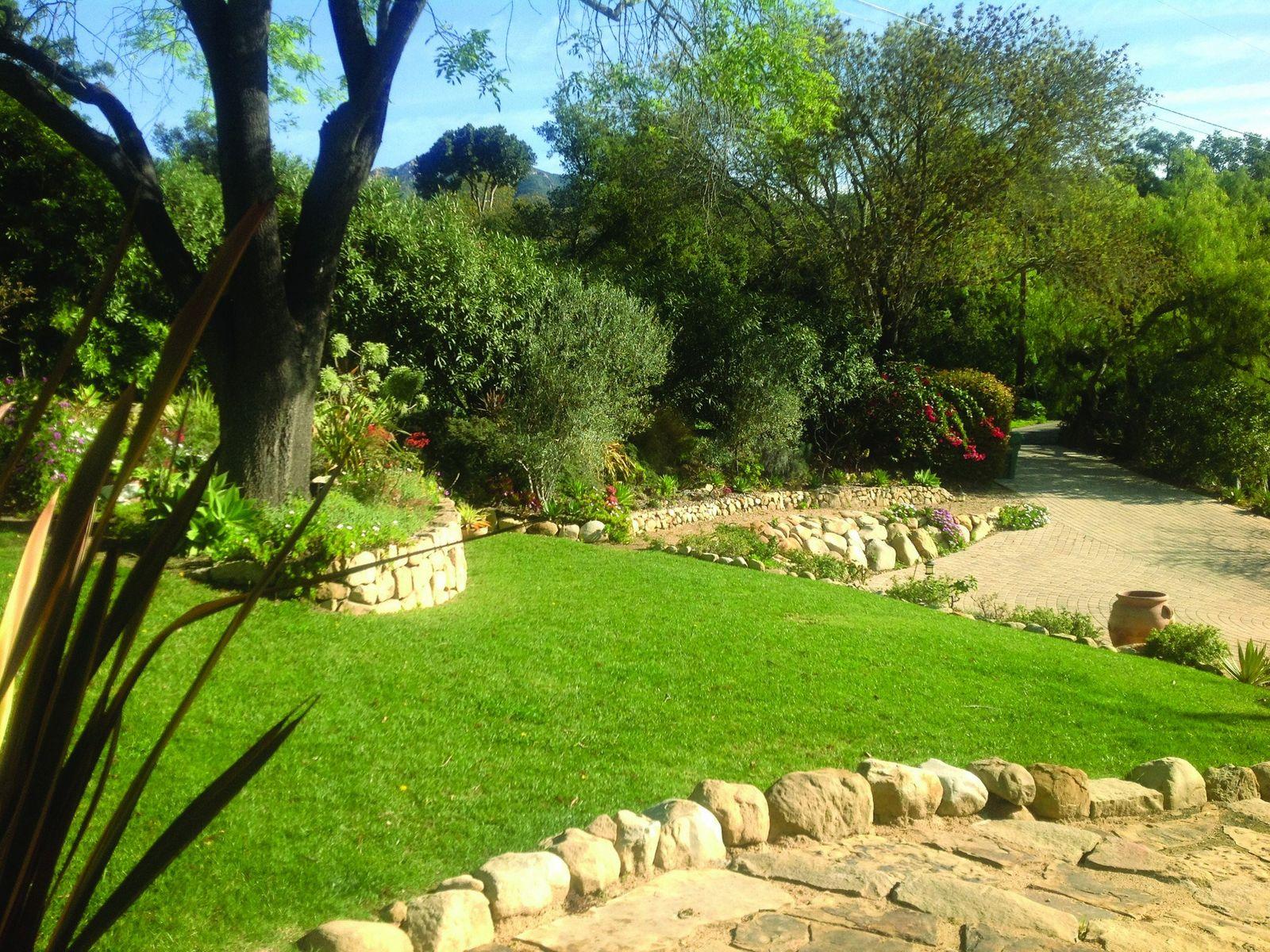 Stone Paths & Lawn