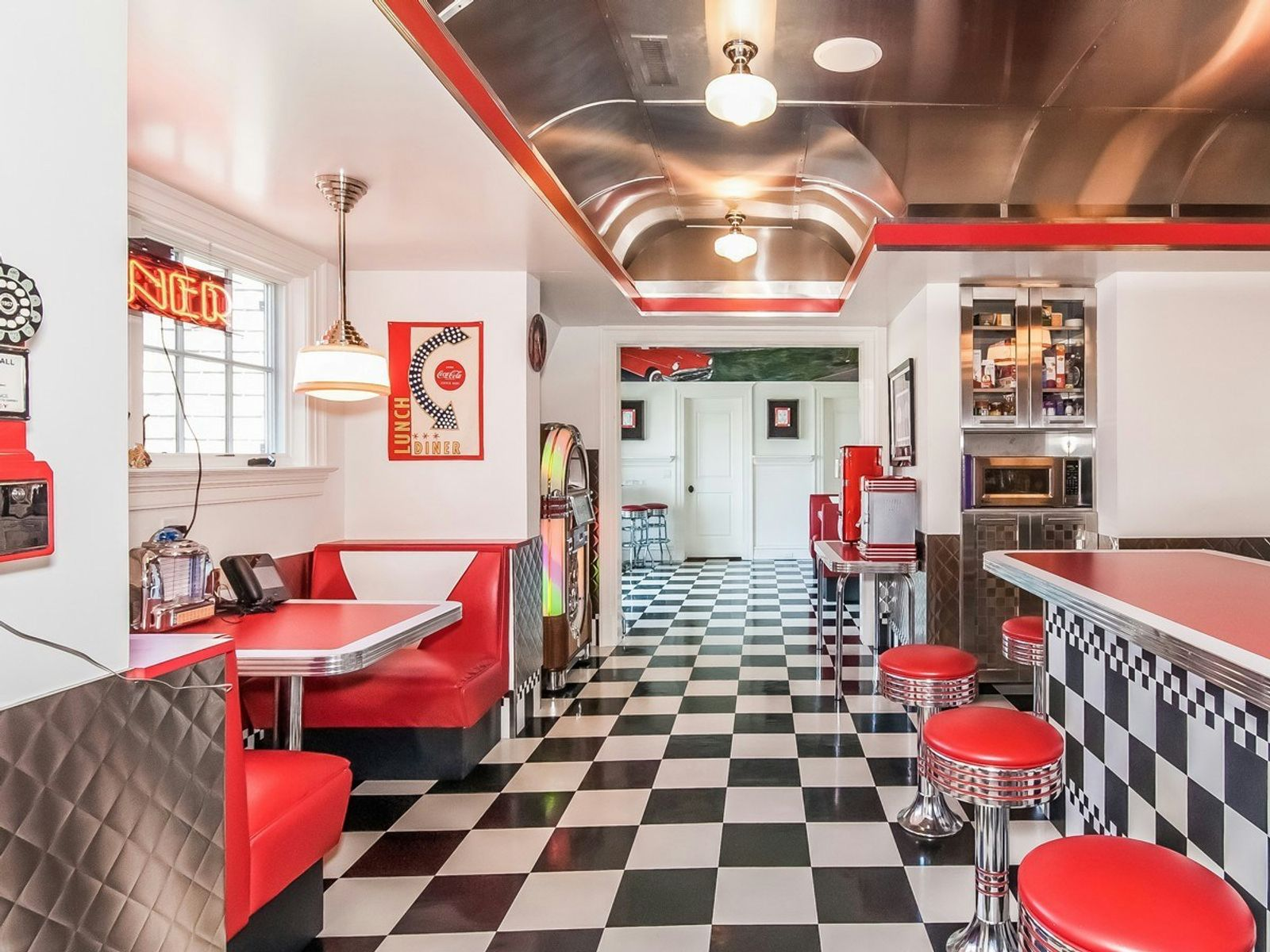 Replica 1950s diner serves 2nd fl. & home theater